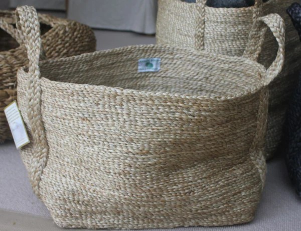 Small Rectangular Jute Basket Natural Or Grey