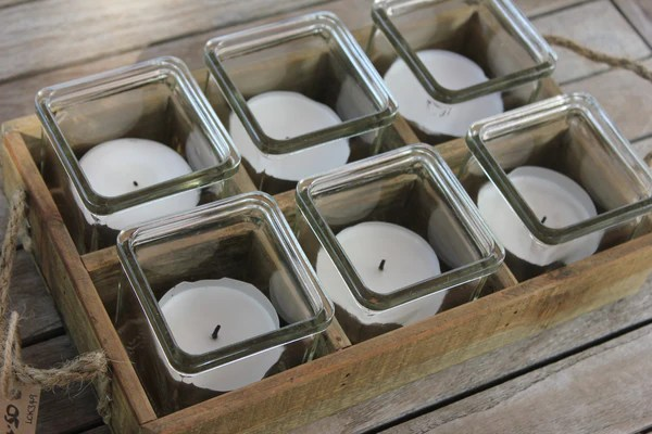 Rustic Wooden Tray With Six Tea Light Holders