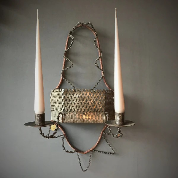 Small French Antique Style Wall Sconce - Two Candles on Antique Style Candle Holder Sconces id=75959