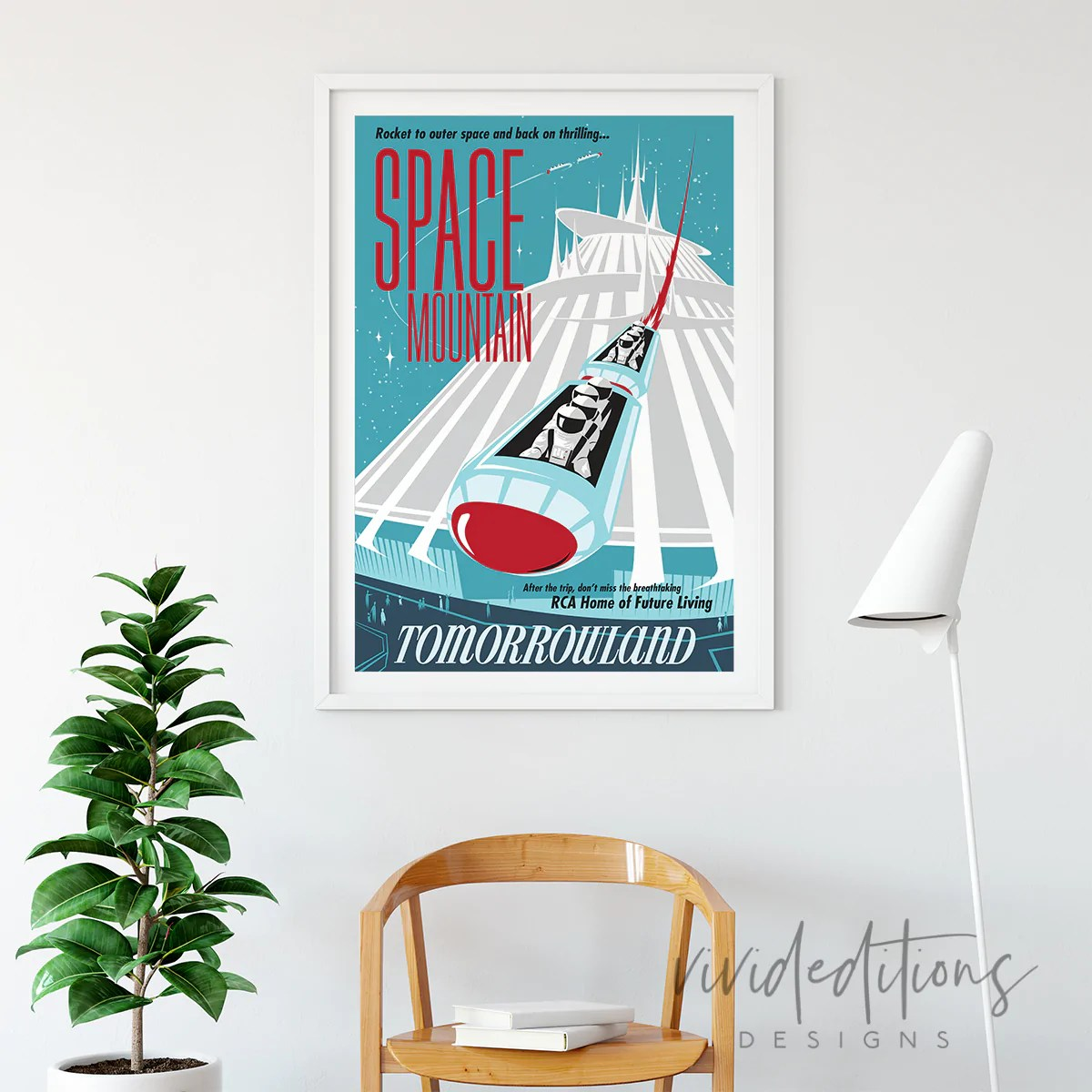 space mountain tomorrowland disneyland poster