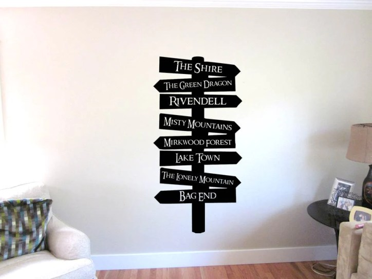 Movie Marathon Lord of the Rings LoTR Places Sign Wall Decal Night at the Movies Home Theater