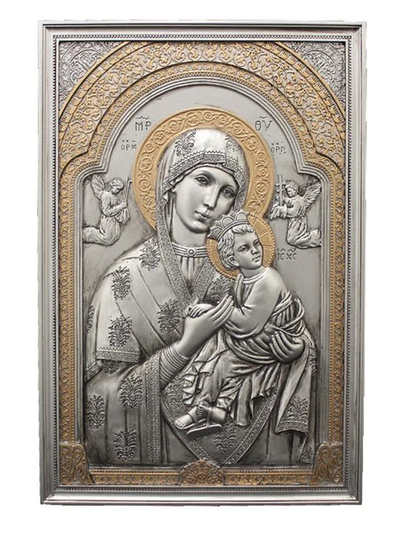 Our Lady Of Perpetual Help Pewter Style Icon Plaque Wall