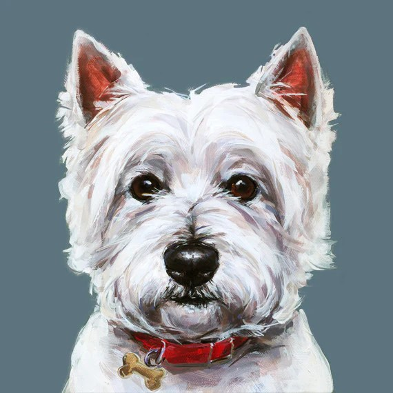 Modern Dog Art Print Of A West Highland Terrier Painting