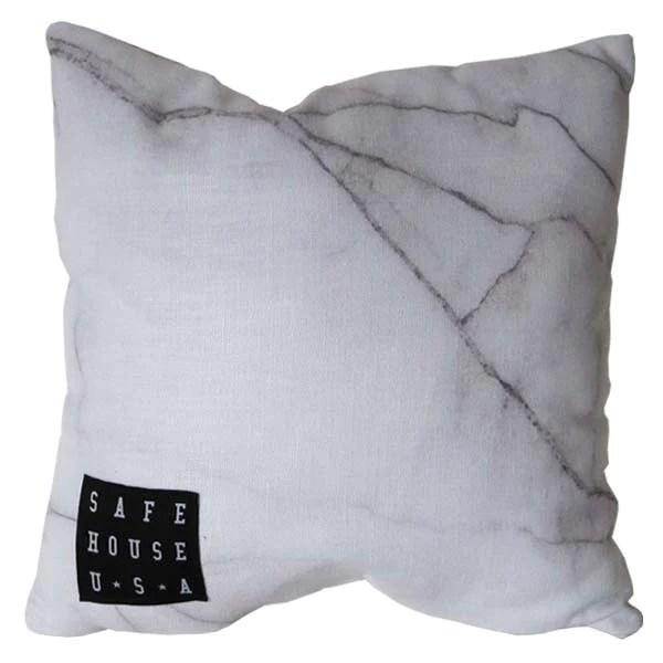 White Marble Jute Cloth Throw Pillow