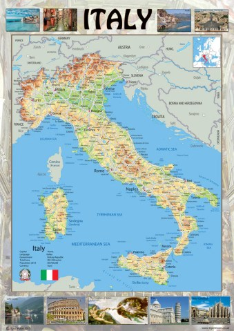 Illustrated Map of Italy   I Love Maps Illustrated Map of Italy