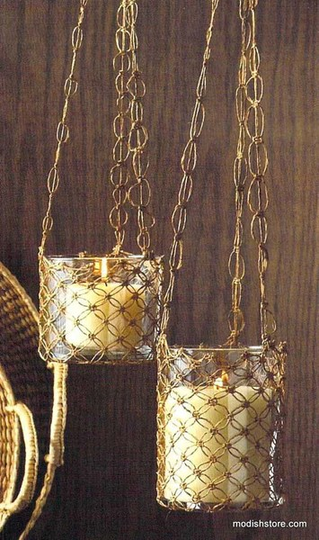 Roost Macrame Hanging Glass Candle Holders Set Of 2 Modish Store