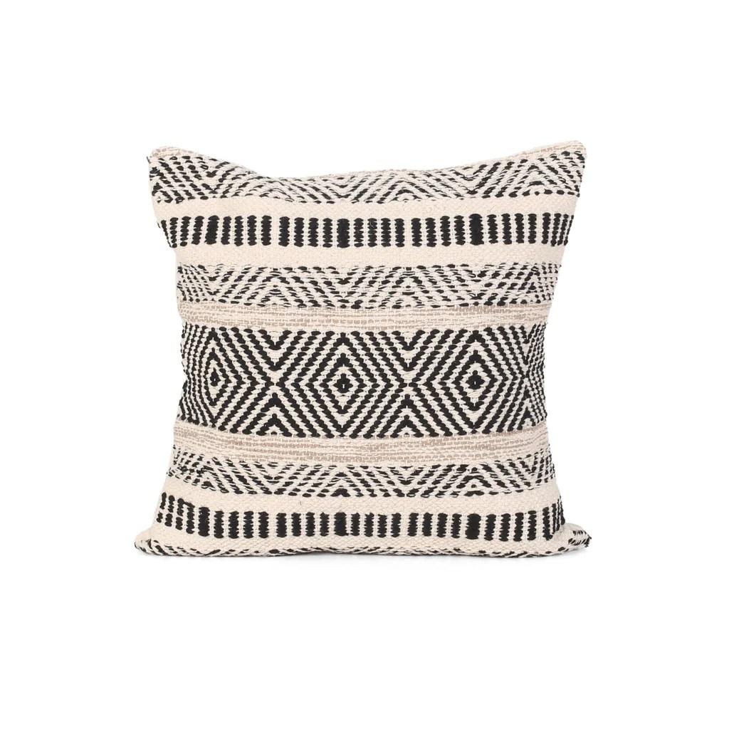 edith boho cotton throw pillow black and white