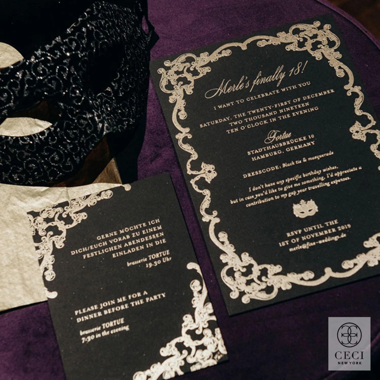 a glamorous black tie invitation box