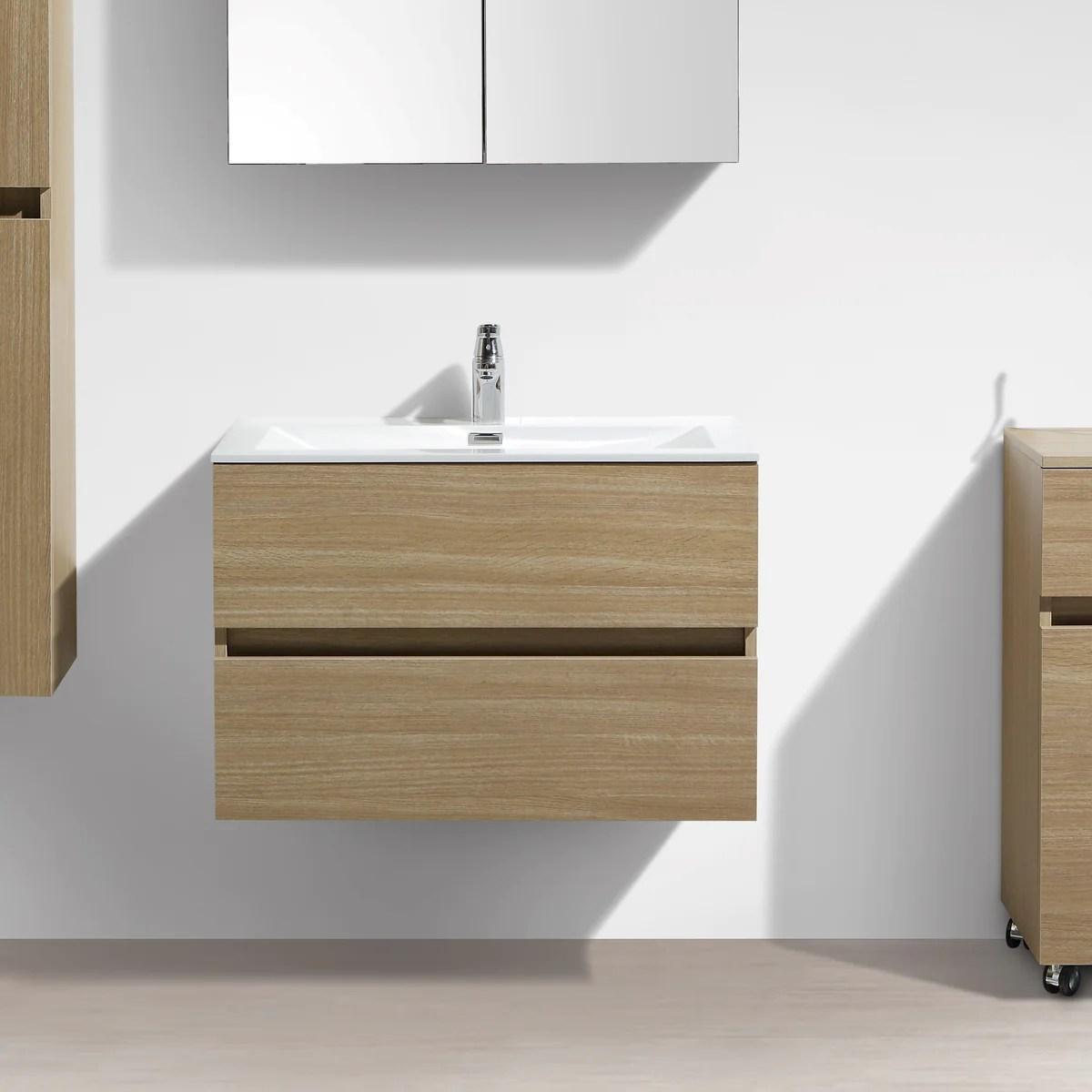 Meuble Salle De Bain Design Simple Vasque Siena Largeur 80 Cm Chene C Le Monde Du Bain