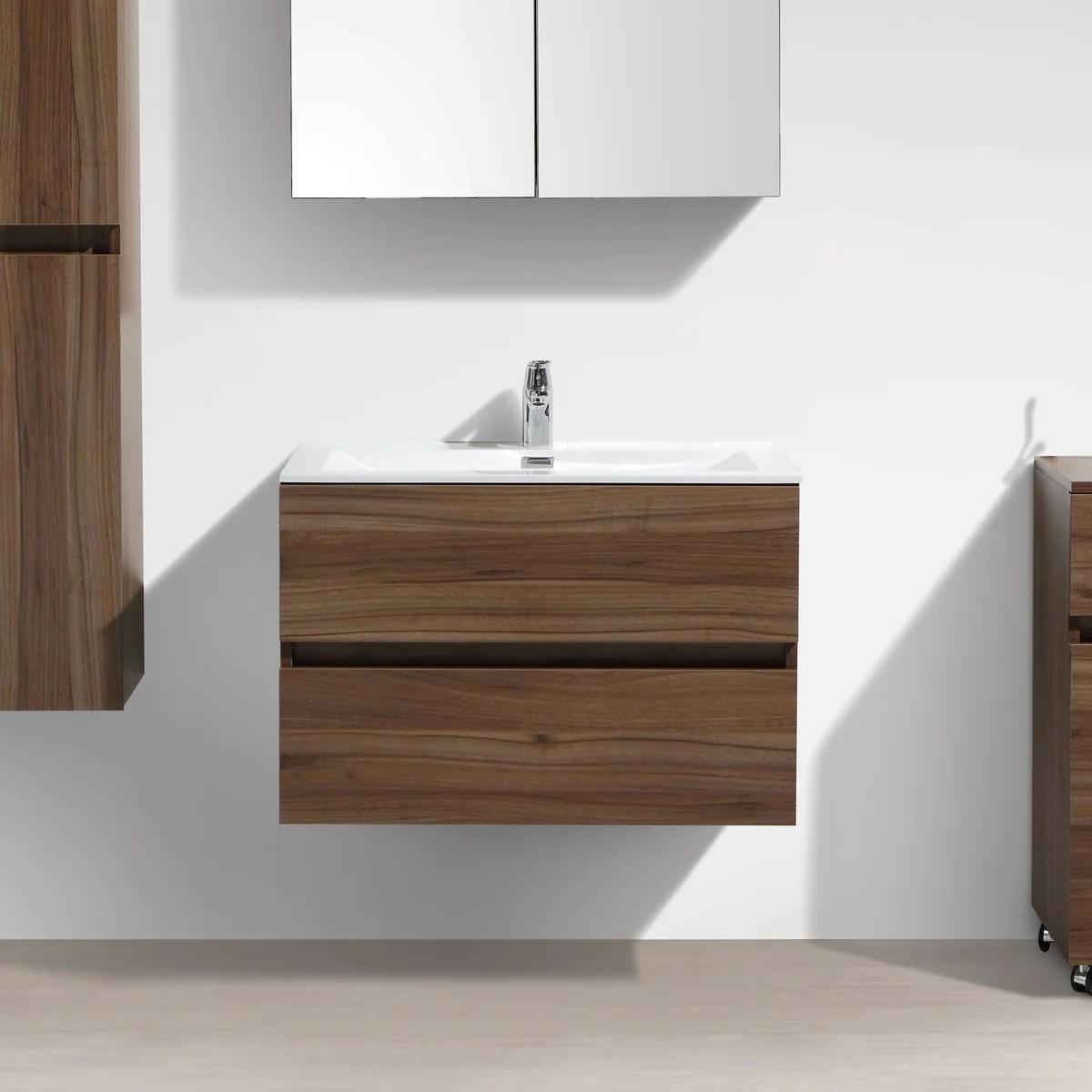 Meuble Salle De Bain Design Simple Vasque Siena Largeur 80 Cm Noyer Le Monde Du Bain