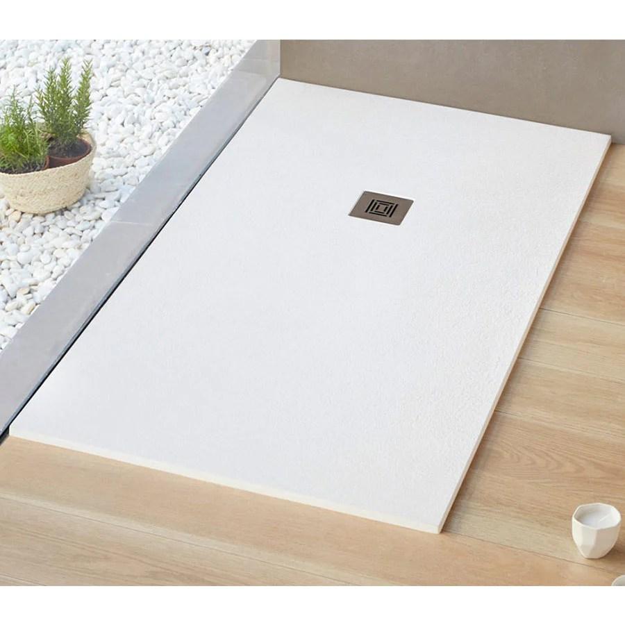receveur de douche extra plat logic surface ardoisee rectangulaire blanc