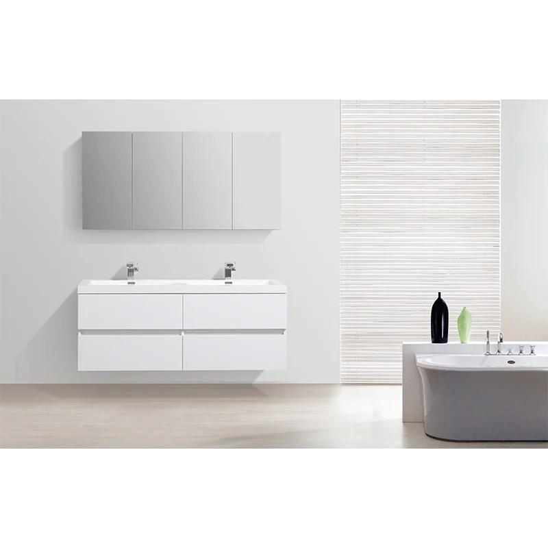 Armoire De Toilette Bloc Miroir Siena Largeur 144 Cm Blanc Laque Le Monde Du Bain