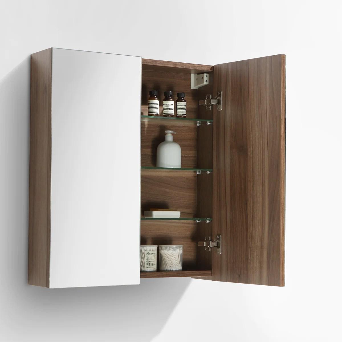 Armoire De Toilette Bloc Miroir Siena Largeur 60 Cm Noyer Le Monde Du Bain