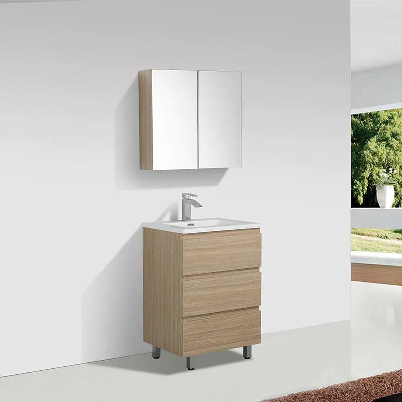 meuble salle de bain design simple vasque verona largeur 60 cm chene clair