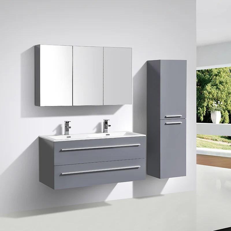 meuble salle de bain design double vasque siena largeur 120 cm gris laque