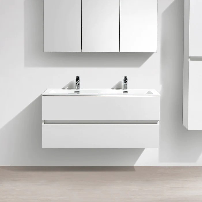 meuble salle de bain design double vasque siena largeur 120 cm blanc laque