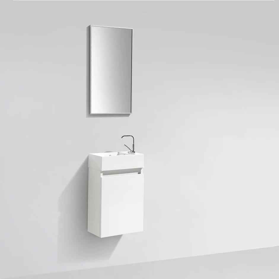 Meuble Lave Main Salle De Bain Design Siena Largeur 40 Cm Blanc Laque Le Monde Du Bain