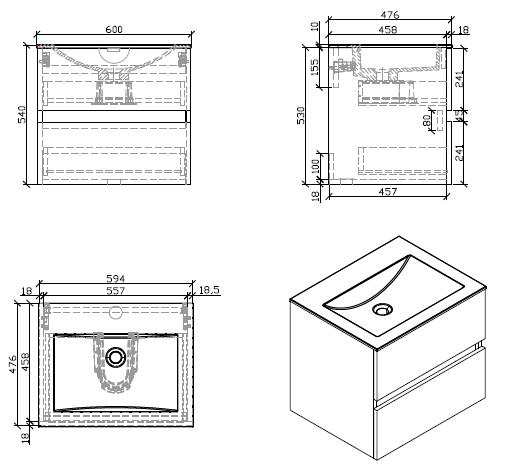 Meuble Salle De Bain Design Simple Vasque Siena Largeur 60 Cm Chene C Le Monde Du Bain