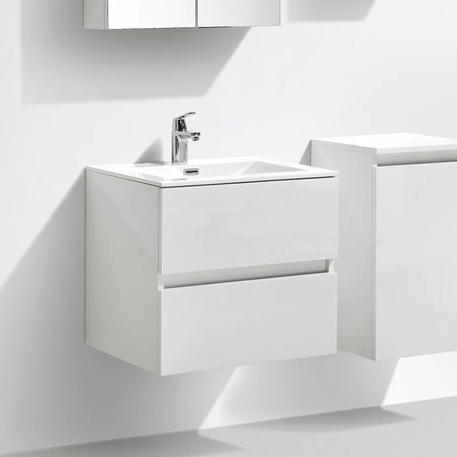 Meuble Salle De Bain Design Simple Vasque Siena Largeur 60 Cm Blanc L Le Monde Du Bain