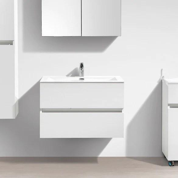 Meuble Salle De Bain Design Simple Vasque Siena Largeur 80 Cm Blanc L Le Monde Du Bain