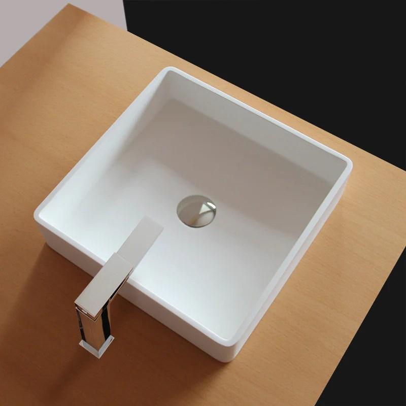 Vasque A Poser Carree En Fonte Minerale Solid Surface Quadrato 40 Cm Le Monde Du Bain
