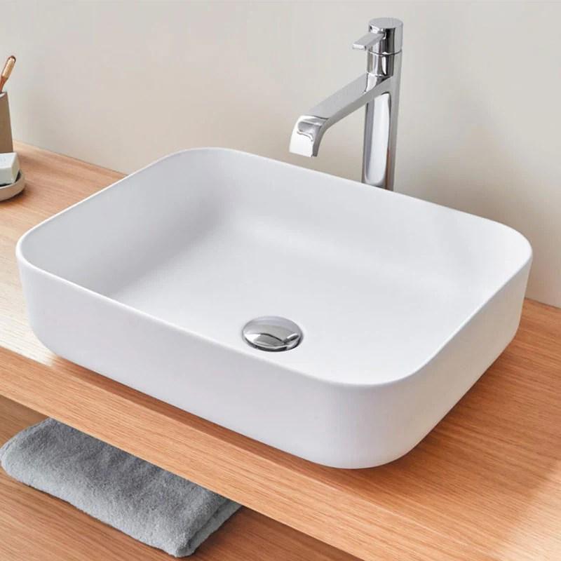 Vasque A Poser En Ceramique Catania Blanc Mat 50 X 40 Cm Le Monde Du Bain