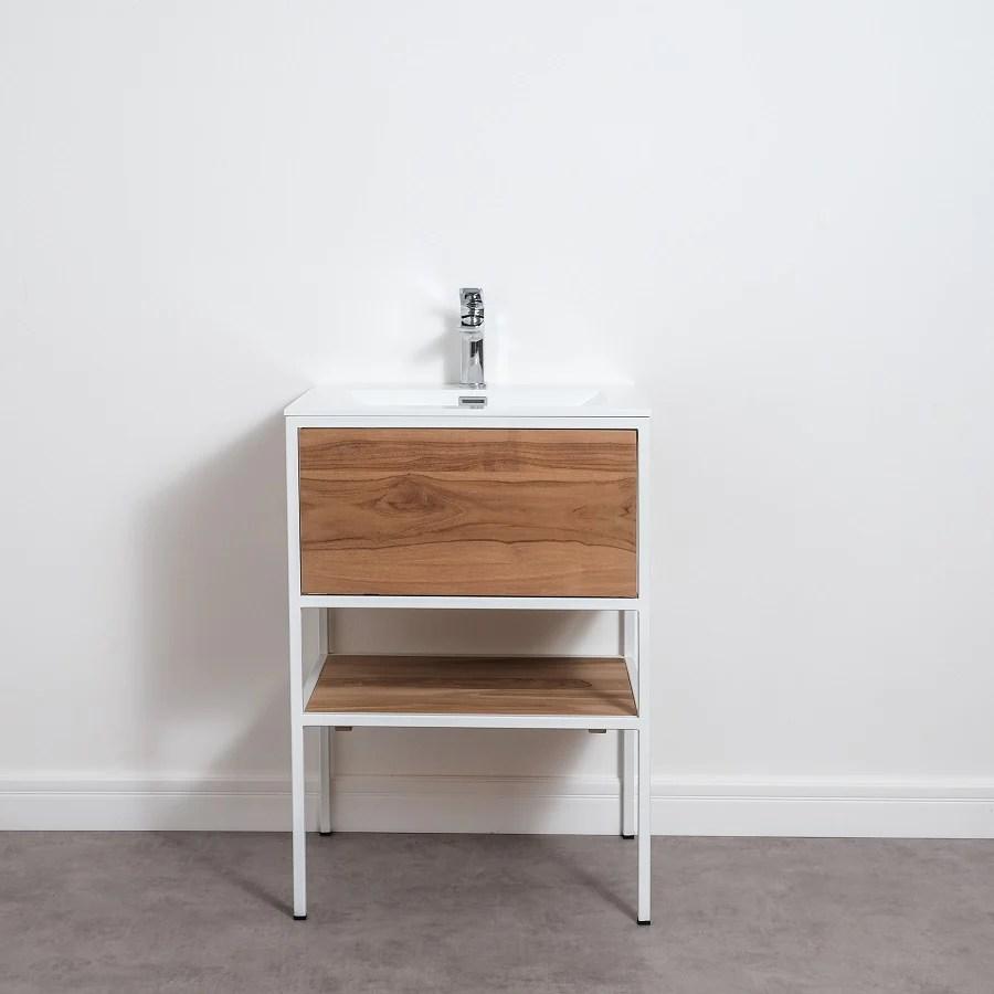 meuble salle de bain factory en teck et metal noir 60 cm avec plan vasque le monde du bain