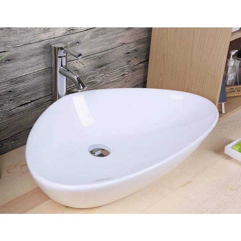 Vasque A Poser En Ceramique Bergamo Blanc 59 X 39 Cm Le Monde Du Bain