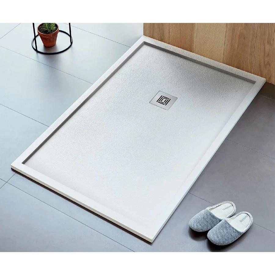 receveur de douche extra plat logic encadre surface ardoisee rectangulaire blanc