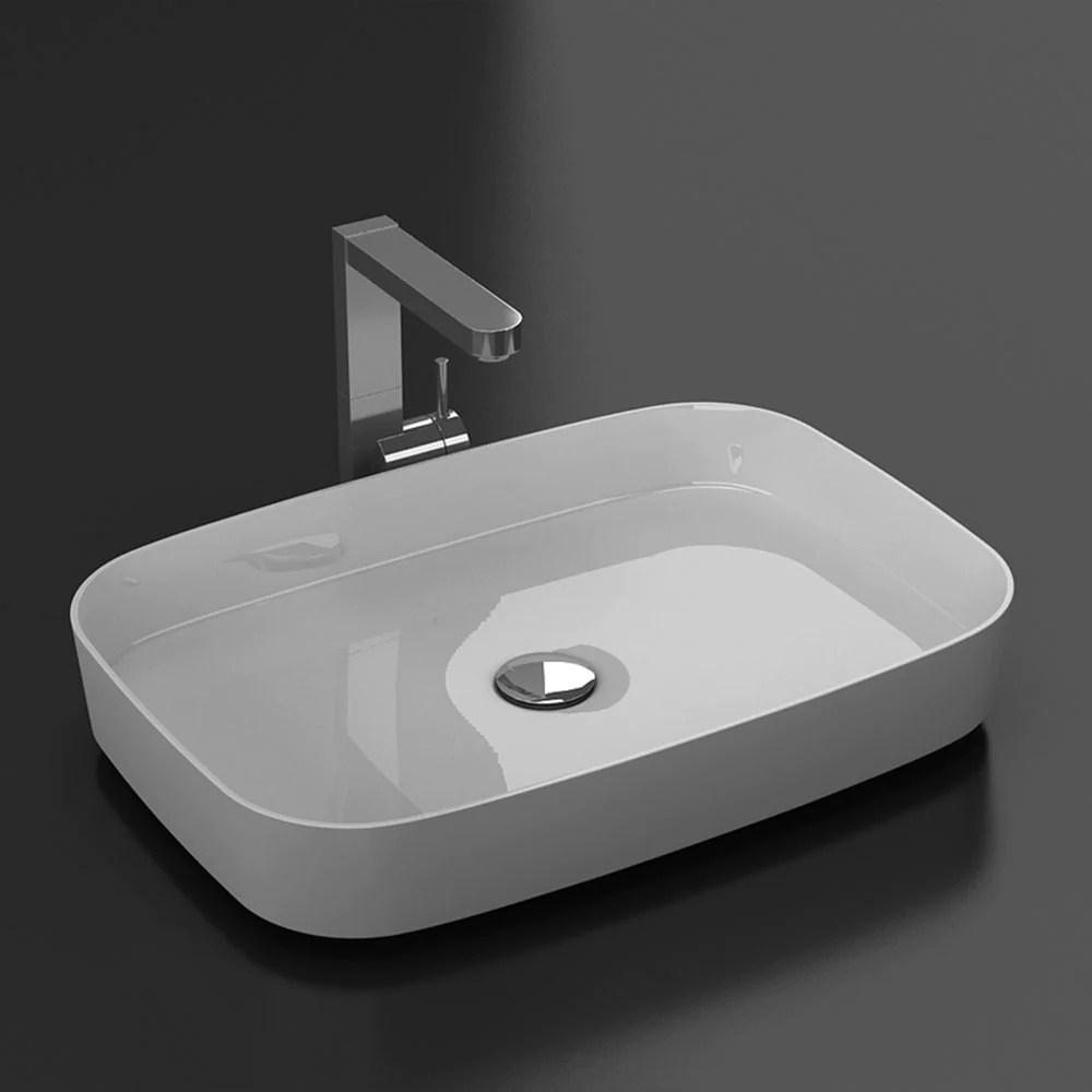 Vasque A Poser Rectangle En Marbre De Synthese Siena 60 X 42 Cm Le Monde Du Bain