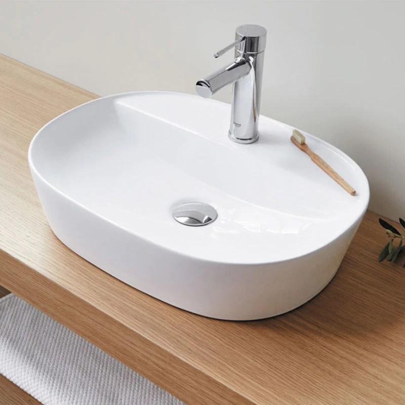 Vasque A Poser En Ceramique Marino Blanc 50 X 38 Cm Le Monde Du Bain