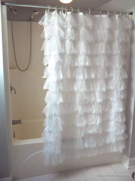 Shabby Crushed Voile Ruffled Shower Curtain Eleanor Brown Boutique