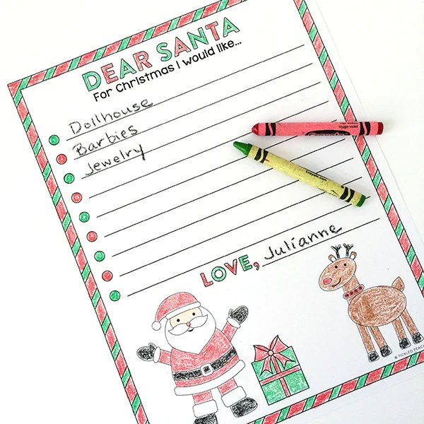 Free Printable Santa Wish List Coloring Page Tickled