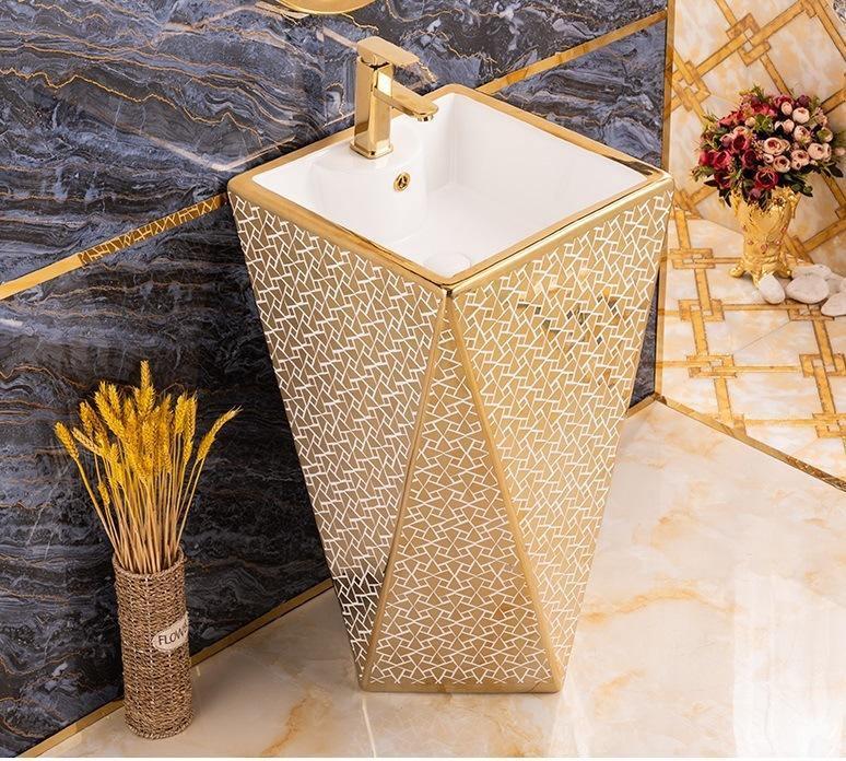ceramic wash basin bathroom pedestal one piece pedestal sink porcelain vessel sink bowl sink for lavatory 46 x 46 x 85 cm rectangle golden white color