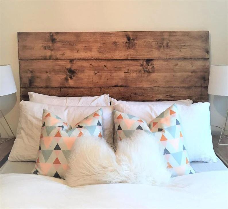 wooden headboard reclaimed rustic bed bedroom double king queen single rustic plank chunky handmade in britain scandinavian nordic farmhouse