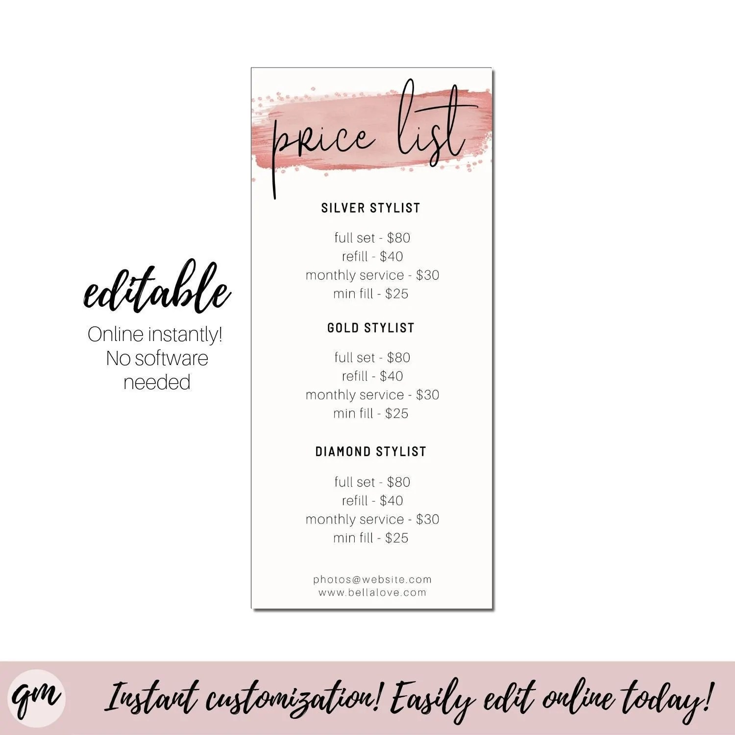 The list price for a product or service is usually the starting point for determining what a buyer will end up paying. Editable Price List Template Modern Price Menu Pink Price List Printab Quillfully Digital