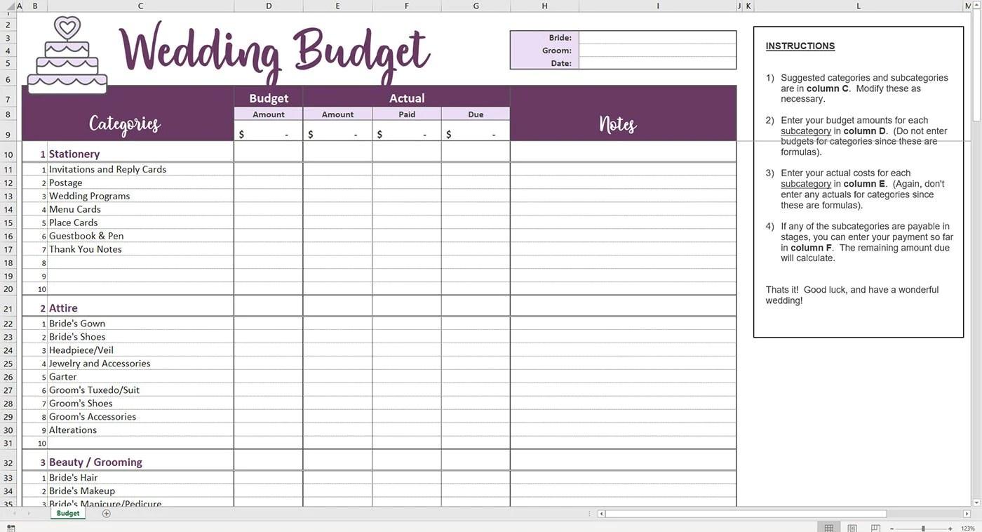 Easy Wedding Budget