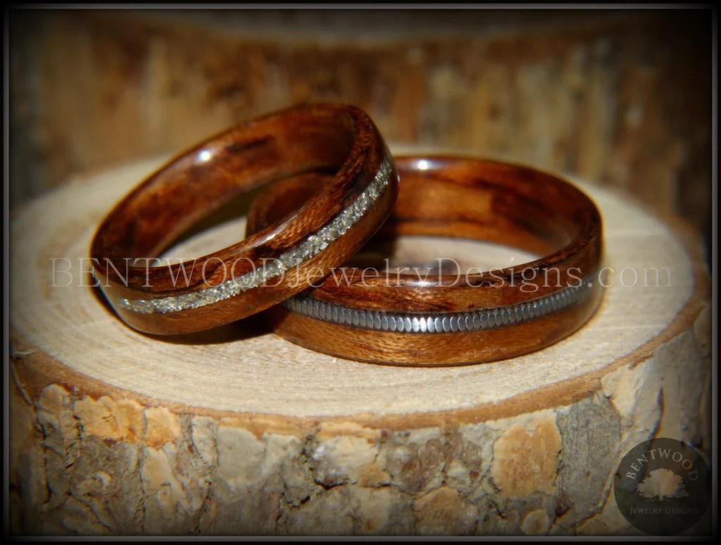 Bentwood Bubinga Wood Wedding Rings Glass Inlay Guitar