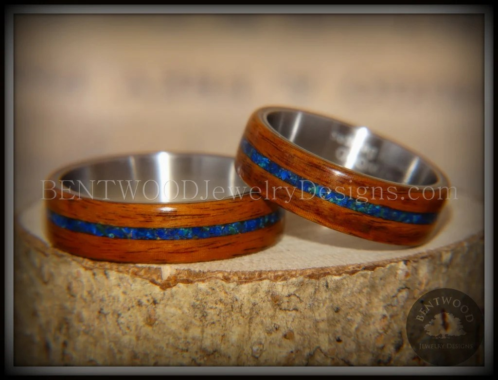 Bentwood Rings Set Rosewood On Surgical Steel Core With