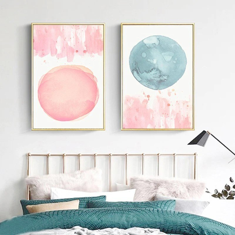 Abstract Nordic Watercolor Posters Pink And Blue Wall Art ... on Room Decor Posters id=84161