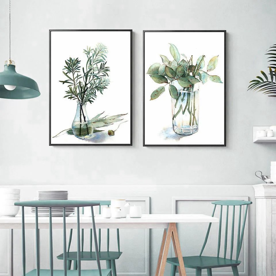 Farmhouse Kitchen Greenery Wall Art Simple Herbs In Glass ... on Wall Sconces For Greenery Decoration id=43998