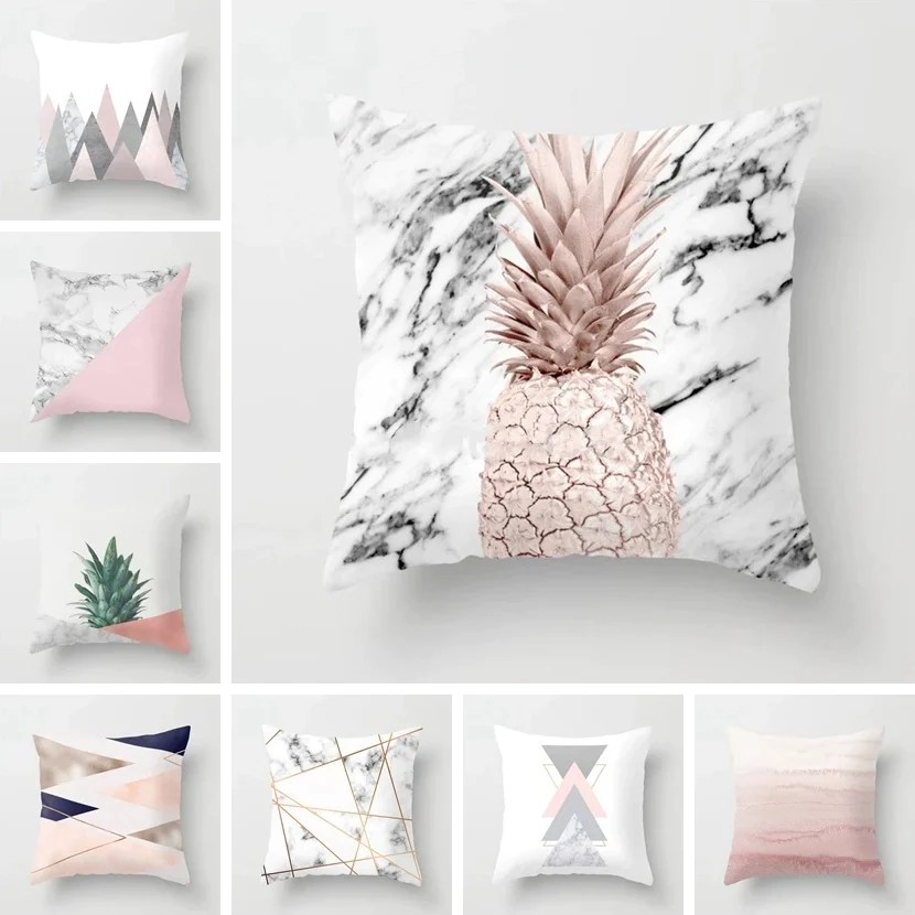 nordic decor cushion covers pink geometric marble tropic pineapple pillow cover