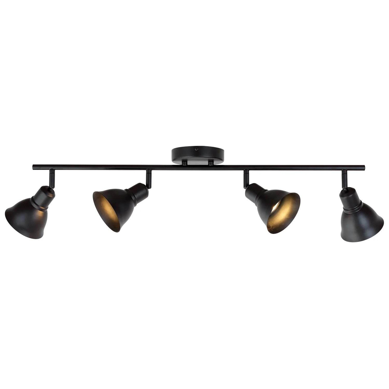 bonlicht 4 light track lighting black spotlights kitchen light fixtures ceiling 35w gu10 base halogen bulbs included