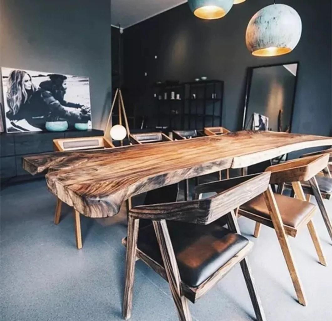 modern design wooden slab table