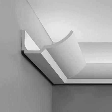 c351 luxxus plain polyurethane crown molding for indirect lighting face 6 7 8 length 78 3 4 sku cp c351
