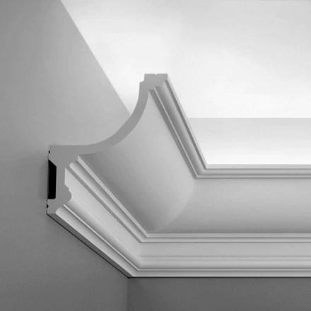c901 luxxus plain polyurethane crown molding for indirect lighting face 7 11 16 length 78 3 4 sku cp c901