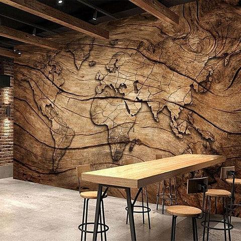 papier peint carte du monde effet bois