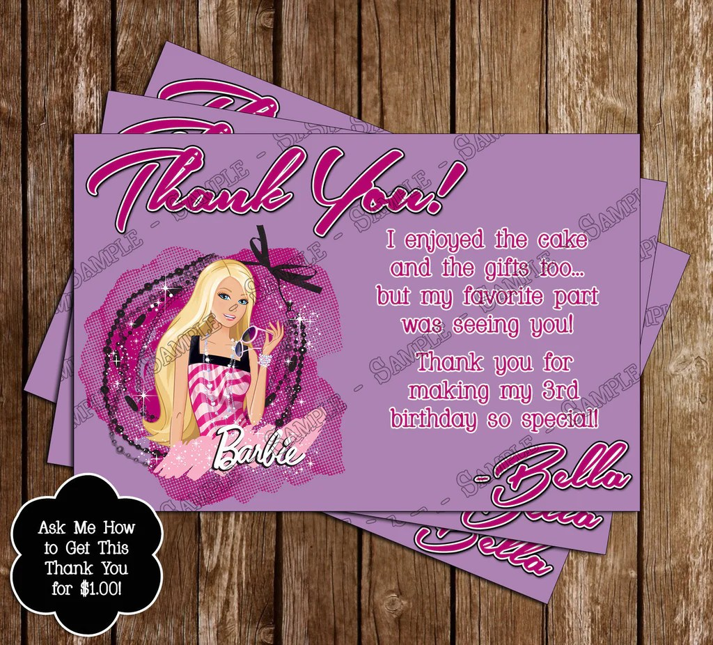 barbie birthday party invitation printable with photo