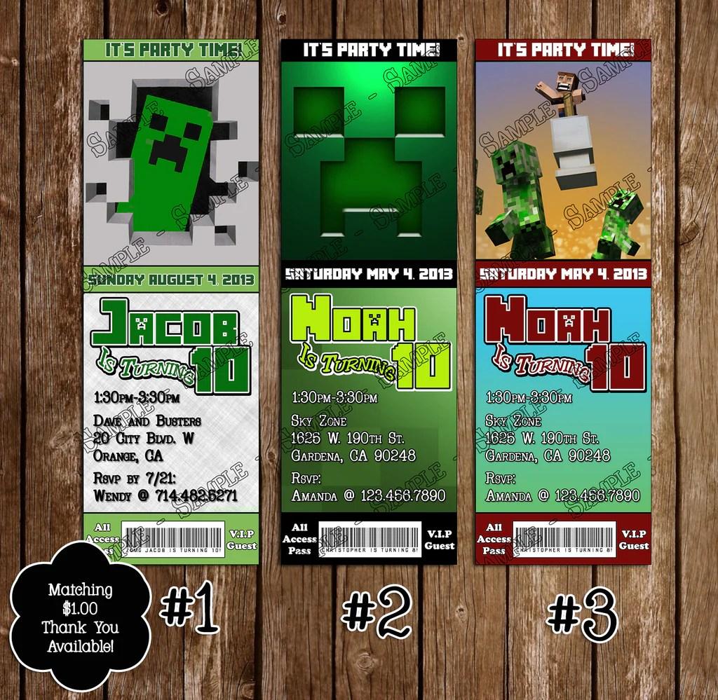 minecraft creeper ticket birthday invitation