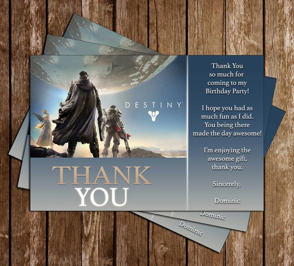 destiny video game birthday party invitation